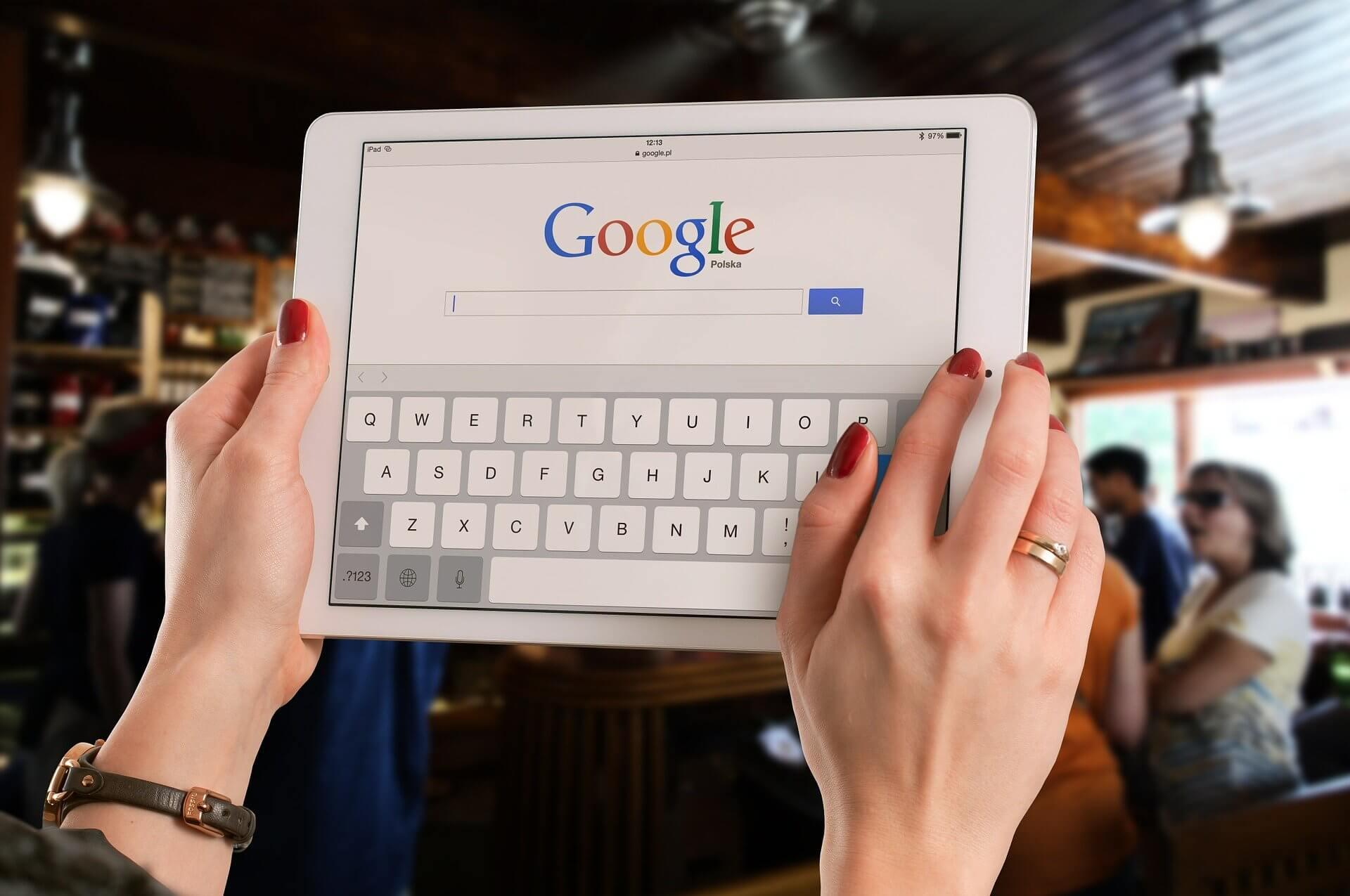 Google Search auf Tablet