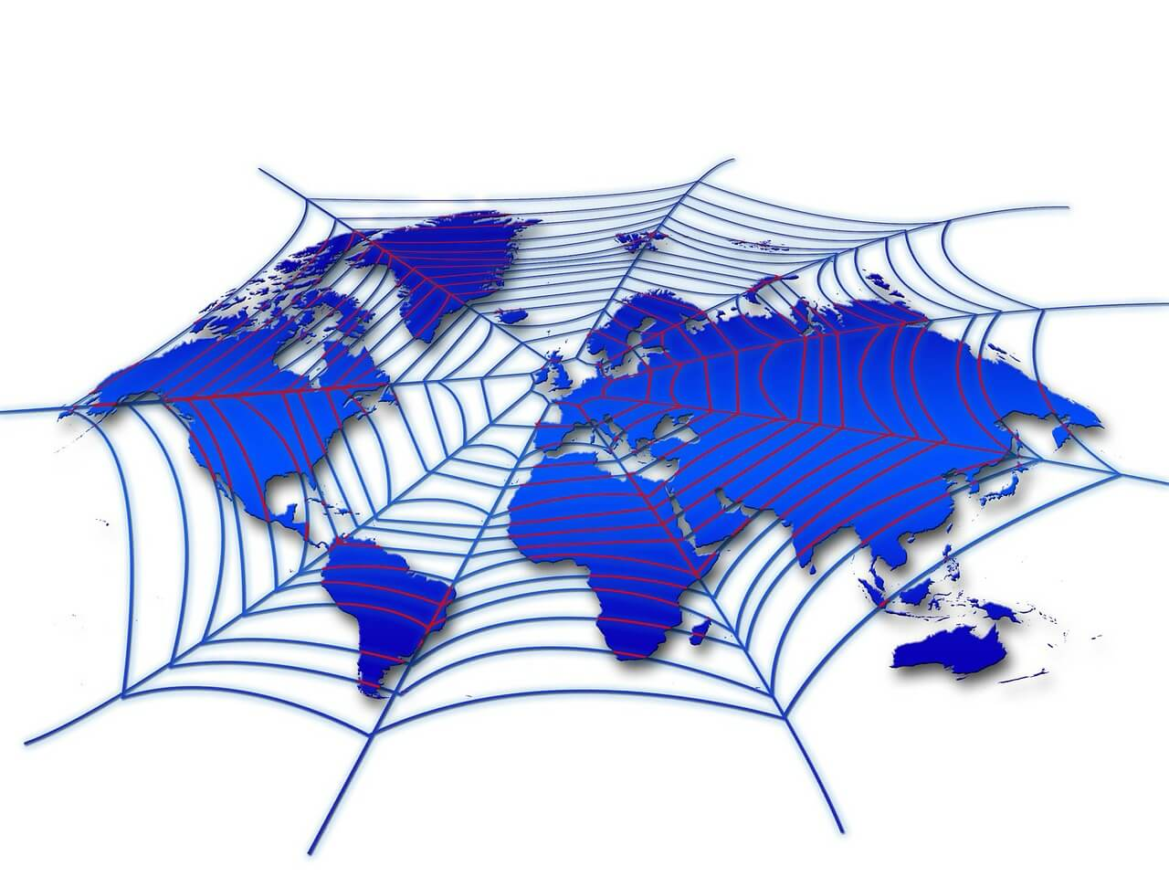 Spinnennetz über der Weltkarte (Metapher für Crawler)