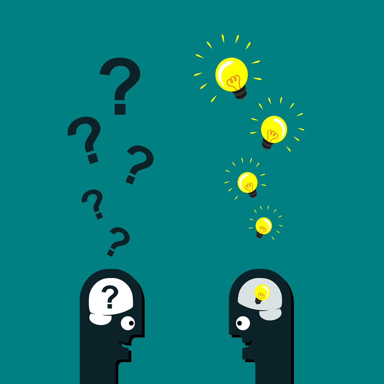 Illustration: zwei Köpfe- einer mit Fragen der andere mit Antworten (Intention ermitteln)