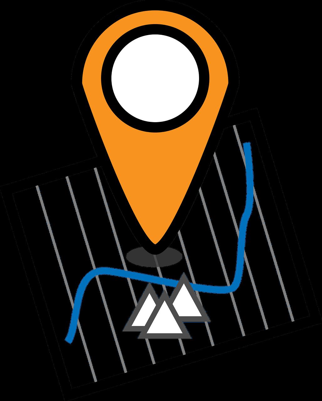 Karte mit markiertem Ort