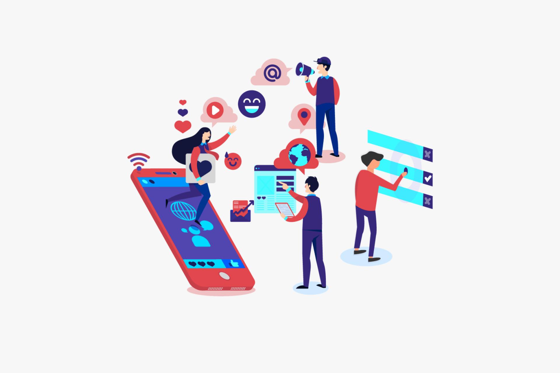 Weltweite Vernetzung - Social Media Illustration